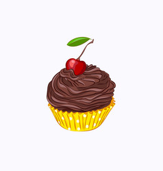 Cupcake with chocolate cream and cherry vector