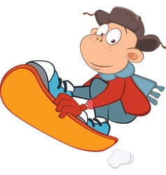 Cute Boy Snowboarding Cartoon vector image
