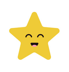 cute cartoon happy star character with smile vector image