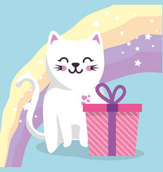 cute cat with gift sweet kawaii character birthday vector image