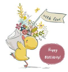cute little bird with flower wreath vector image