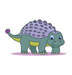cute little cartoon badinosaur - ankylosaurus vector image