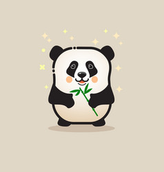 cute panda bear with bamboo isolated on gray vector image