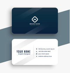 dark blue and white simple business card design vector image