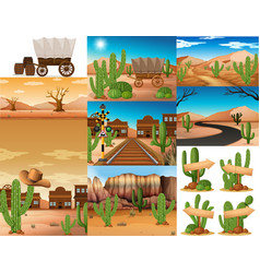 desert scenes with cactus and buildings vector image