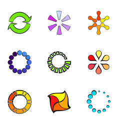 Different figures icons set cartoon style vector