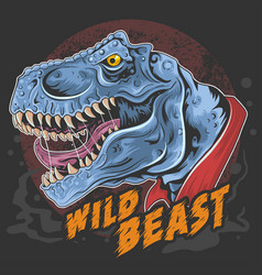 Dinosaur t rex head wild beast roar rage face vect vector