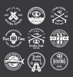 diving spearfishing white labels on dark vector image