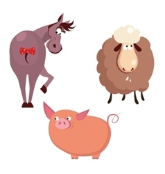 Donkey Pig and Sheep Farm Animals vector