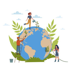 earth day people care about ecology vector image