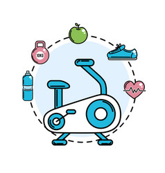 Exercise mashine with healthy tolls icons vector