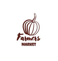 farmers market pumpkin monochrome emblem vector image