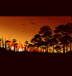 Fire in forest flat birds vector