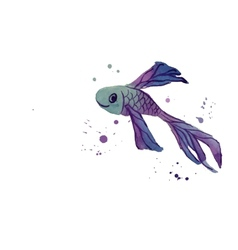 Fish WaterColor Blue vector