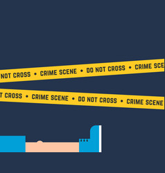 Flat style crime scene with corpse vector