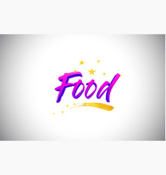 food purple violet word text with handwritten vector image