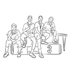Four male table tennis players with medals vector