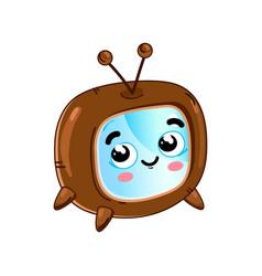 funny retro tv set cartoon character vector image