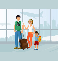 happy family travel father vector image