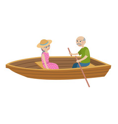happy grandparents ride on the boat vector image