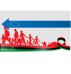 Imigration libian people to europe vector