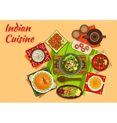 Indian cuisine menu with dishes and desserts vector image