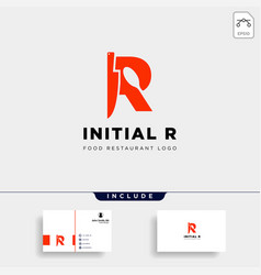 Initial r food equipment simple logo template vector