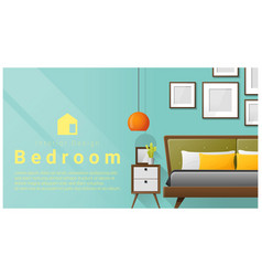 Interior design with modern bedroom background vector