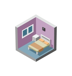 isometric of bedroom interior bed table window vector image