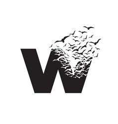 Letter w with effect destruction dispersion vector