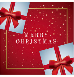 merry christmas card greeting decoration gifts vector image