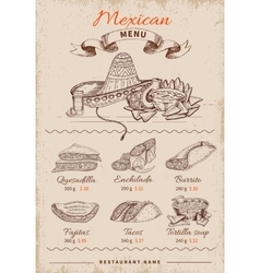 Mexican hand drawn menu vector
