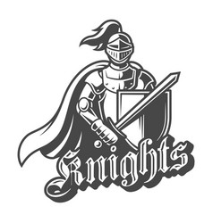 Monochrome brave knight label vector