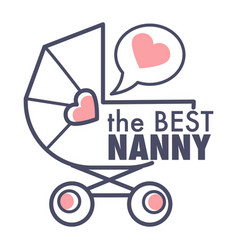nanny service isolated outline icon pram and heart vector image