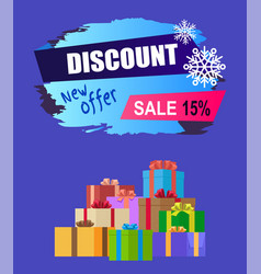 new offer discount - 15 winter 2017 sale vector image