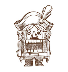 Nutcracker retro toy sketch hand drawn vector
