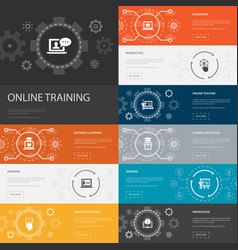 Online training infographic 10 line icons banners vector