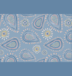 Paisley doodle background cute pattern in blue vector
