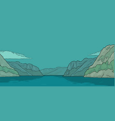 Panorama fjord in norway vintage color vector