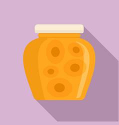 Peach jam jar icon flat style vector