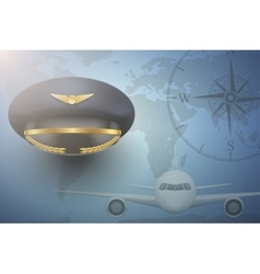 Pilot aircraft civil aviation background vector image
