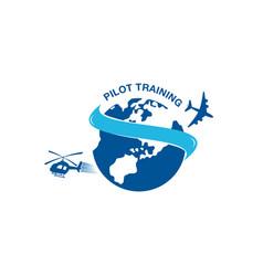 Pilot training academy logo design with using vector