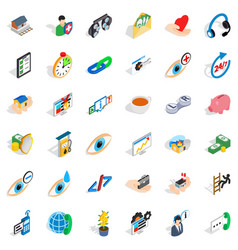 Rendering medical assistance icons set isometric vector