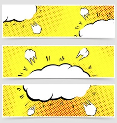 Retro vintage pop-art style yellow header set vector image