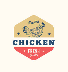 Roasted chicken fresh poultry abstract sign vector