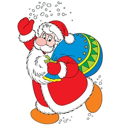 Santa Claus with Christmas gifts vector