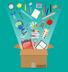 school items and cardboard box vector image