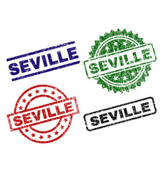Scratched textured seville seal stamps vector