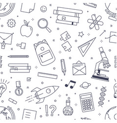 seamless pattern with school stationery drawn vector image
