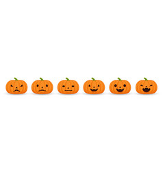 set halloween pumpkins funny and scary facial vector image